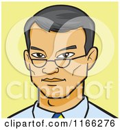 Cartoon Of An Asian Business Man Avatar On Yellow Royalty Free Vector Clipart by Cartoon Solutions