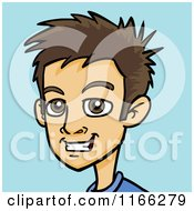 Cartoon Of A Young Brunette Man Avatar On Blue Royalty Free Vector Clipart by Cartoon Solutions