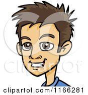 Cartoon Of A Young Brunette Man Avatar Royalty Free Vector Clipart by Cartoon Solutions