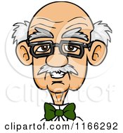 Cartoon Of A Bespectacled Old Man Avatar Royalty Free Vector Clipart