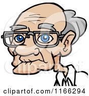 Cartoon Of A Bespectacled Old Man Avatar 2 Royalty Free Vector Clipart