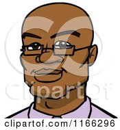 Cartoon Of A Bespectacled Bald Black Man Avatar Royalty Free Vector Clipart