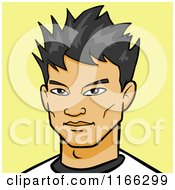 Cartoon Of An Asian Man Avatar On Yellow Royalty Free Vector Clipart