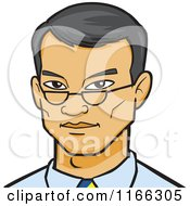 Cartoon Of An Asian Business Man Avatar Royalty Free Vector Clipart