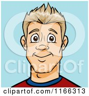 Cartoon Of A Blond Man Avatar On Blue Royalty Free Vector Clipart