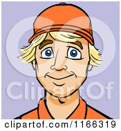 Cartoon Of A Worker Man Avatar On Purple Royalty Free Vector Clipart