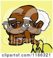 Cartoon Of A Senior Black Man Avatar On Yellow Royalty Free Vector Clipart