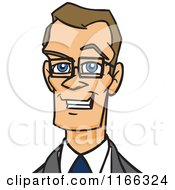Cartoon Of A Bespectacled Business Man Avatar 2 Royalty Free Vector Clipart