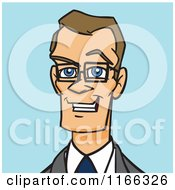Bespectacled Business Man Avatar On Blue
