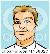 Cartoon Of A Dirty Blond Business Man Avatar On Blue Royalty Free Vector Clipart
