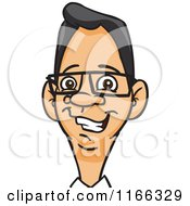 Cartoon Of A Bespectacled Man Avatar 3 Royalty Free Vector Clipart
