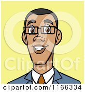 Cartoon Of A Black Business Man Avatar On Yellow Royalty Free Vector Clipart