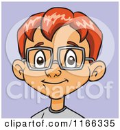 Cartoon Of A Red Haired Bespectacled Boy Avatar Over Purple Royalty Free Vector Clipart