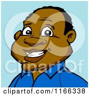 Happy Black Man Avatar On Blue