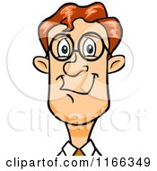 Cartoon Of A Bespectacled Red Haired Business Man Avatar Royalty Free Vector Clipart