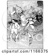 Clipart Of Retro Vintage Black And White Land Of Oz Characters Walking Royalty Free Vector Illustration by Prawny Vintage