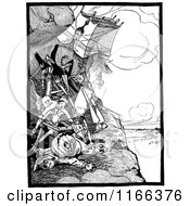 Clipart Of Retro Vintage Black And White Land Of Oz Characters Falling Royalty Free Vector Illustration by Prawny Vintage
