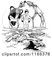 Clipart Of Retro Vintage Black And White Land Of Oz Characters Burying Jack Royalty Free Vector Illustration by Prawny Vintage