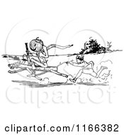 Clipart Of A Retro Vintage Black And White Land Of Oz Characters With A Racing Horse Royalty Free Vector Illustration by Prawny Vintage