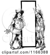 Clipart Of A Retro Vintage Black And White Tin Man And Scarecrow By A Sign Royalty Free Vector Illustration by Prawny Vintage