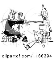 Clipart Of A Retro Vintage Black And White Tin Woodman And Scarecrow Shaking Hands Royalty Free Vector Illustration by Prawny Vintage