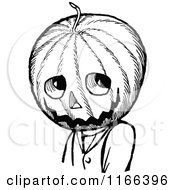 Clipart Of A Retro Vintage Black And White Jack Pumpkinhead Royalty Free Vector Illustration by Prawny Vintage