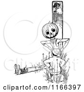 Clipart Of A Retro Vintage Black And White Jack Pumpkinhead Talking To A Boy Royalty Free Vector Illustration by Prawny Vintage