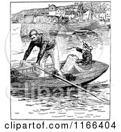 Clipart Of A Retro Vintage Black And White Couple In A Row Boat Royalty Free Vector Illustration