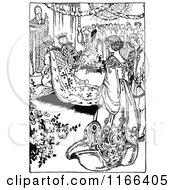 Clipart Of A Retro Vintage Black And White Medieval Wedding Royalty Free Vector Illustration
