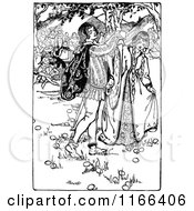 Clipart Of A Retro Vintage Black And White Medieval Couple Royalty Free Vector Illustration
