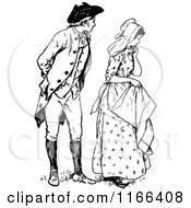 Clipart Of A Retro Vintage Black And White Shy Couple Royalty Free Vector Illustration