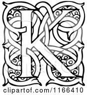 Clipart Of A Retro Vintage Black And White Letter K With Vines Royalty Free Vector Illustration by Prawny Vintage
