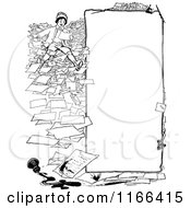 Clipart Of A Retro Vintage Black And White Messy Boy Communication Border Royalty Free Vector Illustration