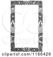Clipart Of A Retro Vintage Black And White Floral Patriotic Border Royalty Free Vector Illustration