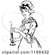 Clipart Of A Retro Vintage Black And White Woman Holding A Candle Royalty Free Vector Illustration by Prawny Vintage