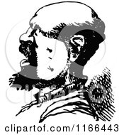 Clipart Of A Retro Vintage Black And White Profiled Man Royalty Free Vector Illustration