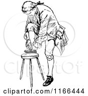Clipart Of A Retro Vintage Black And White Man Tying His Shoe Royalty Free Vector Illustration by Prawny Vintage