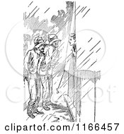 Clipart Of A Retro Vintage Black And White Men In The Rain By A Tent Royalty Free Vector Illustration