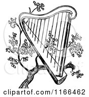 Clipart Of A Retro Vintage Black And White Harp In A Tree Royalty Free Vector Illustration by Prawny Vintage
