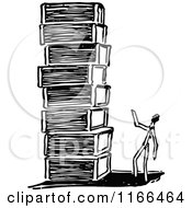 Clipart Of A Retro Vintage Black And White Match Stick Man With A Stack Of Boxes Royalty Free Vector Illustration