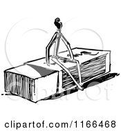 Clipart Of A Retro Vintage Black And White Match Stick Man On A Box Royalty Free Vector Illustration