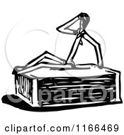 Clipart Of A Retro Vintage Black And White Match Stick Man On A Box 2 Royalty Free Vector Illustration