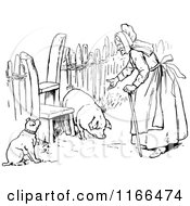 Clipart Of A Retro Vintage Black And White Old Woman With A Dog And Pig Royalty Free Vector Illustration