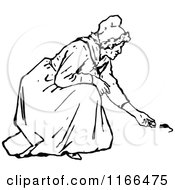 Clipart Of A Retro Vintage Black And White Old Woman Feeding Mice Royalty Free Vector Illustration