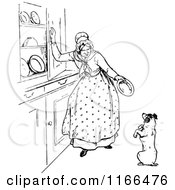 Clipart Of A Retro Vintage Black And White Dog And Old Mother Hubbard Royalty Free Vector Illustration by Prawny Vintage