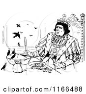 Clipart Of A Retro Vintage Black And White Medieval King And Birds With A Pie Royalty Free Vector Illustration