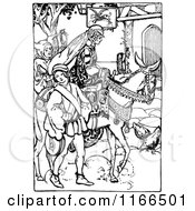 Clipart Of A Retro Vintage Black And White Medieval Pirncess On Horseback Royalty Free Vector Illustration by Prawny Vintage
