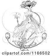 Poster, Art Print Of Retro Vintage Black And White Flower Princess