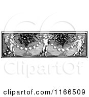 Clipart Of A Retro Vintage Black And White Cherub And Garland Border Royalty Free Vector Illustration by Prawny Vintage
