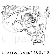 Clipart Of A Retro Vintage Black And White Mother And Baby Crib In A Tree Royalty Free Vector Illustration